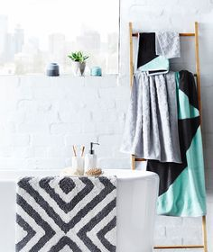 Geometric touches for a contemporary update #bathroom #bedbathntable