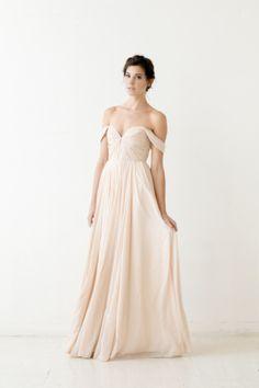 Off-the-shoulder gown: http://www.stylemepretty.com/lookbook/designer/sarah-seven/ #SMPLookBook