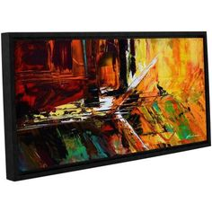 ArtWall Milen Tod Glitch Gallery-wrapped Floater-framed Canvas, Size: 24 x 48, Red