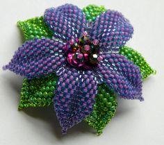 Handmade Purple Glass Bead Flower Hair Clip by Fivefootfury13, $28.25