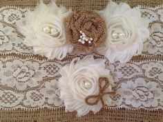 Wedding garter - Burlap Garter Set- Rustic Garter- Fall Wedding Garter
