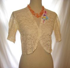 Small to medium size beige color lace bolero jacket enhanced with delicate flowers, beige floral lace bolero shrug, lace bolero jacket by 777DressCode, $44.99