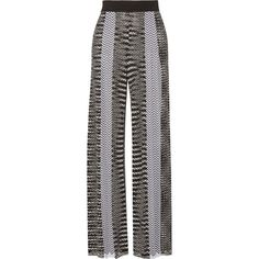 Missoni Crochet-knit wide-leg pants ($1,155) ❤ liked on Polyvore featuring pants, trousers, patterned pants, wide leg trousers, patterned trousers, wide leg pants and elastic band pants