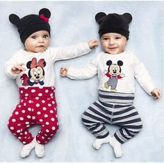 3pcs Cute Baby Kids Girl Boy Outfits Set Minnie Mouse Clothes Set Long Sleeve Ro  | eBay