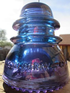 Hemingray 42 Purple Blue 2 tone Glass Insulator Stained Colored CD 154 Railroad