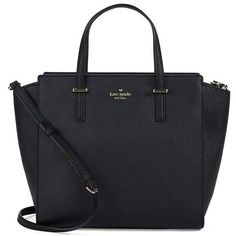 Kate Spade New York Hayden Leather Tote Bag (5.315 UYU) ❤ liked on Polyvore featuring bags, handbags, tote bags, purses, accessories, bolsas, black, hand bags, leather tote and leather handbags