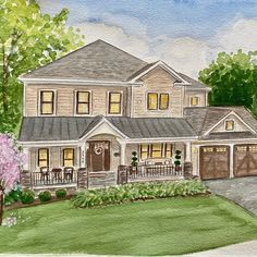 Hand painted watercolor house portrait. Personalized watercolor paintings of home. Watercolor Portraits, Watercolor Paintings, House Paintings, First Home Gifts, Realtor Gifts, House Drawing, Cool Lighting, Custom Paint, That Way