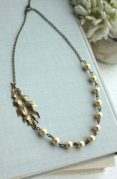 Brass Oak Leaf and Gold Pearls Necklace. Antiqued