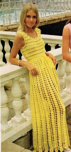 1970s Long Sleeveless Empire Waist Dress PDF Crochet Pattern