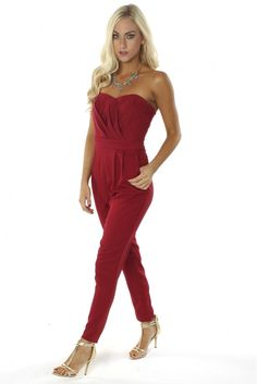 Pleat Jumpsuit Red ($34.99) #jumpsuit #red #pleat #romper #fallfashion #fall #fashion #musthave #ootd #style #trend #sophieandtrey