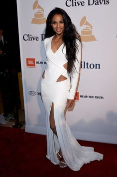 Ciara's Pre Grammy Gala Alexandre Vauthier Spring 2015 Couture White Cut Out High Slit Gown