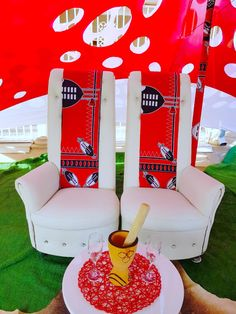 Black, red and white bridal couches Swazi traditional wedding decor by Shonga Events African Wedding Cakes, African Wedding Theme, African Wedding Dress, African Theme, Burgundy Wedding Theme, Red Wedding, Rustic Wedding, Wedding Bouquet, Wedding Things