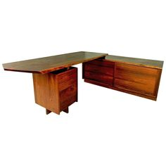 Walnut Pedestal Desk with Credenza by George Nakashima | From a unique collection of antique and modern desks at https://www.1stdibs.com/furniture/storage-case-pieces/desks/