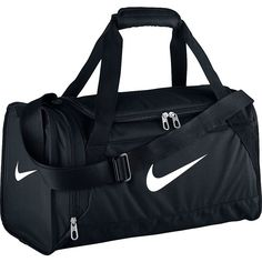 Nike Brasilia 6 Small Duffel (42 NZD) ❤ liked on Polyvore featuring bags, luggage, nike, sport and black
