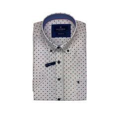 White Short Sleeve Shirt - Blue, Red and Black Dots Button Down Collar, Button Down Shirt, White Short Sleeve Shirt, Black Dots, Skinny Fit, White Shorts, Shirt Dress, Casual, Sleeves