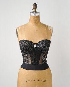 eb5d8636f5 Vintage Lady Marlene Pin Up Black Lace Strapless Bustier