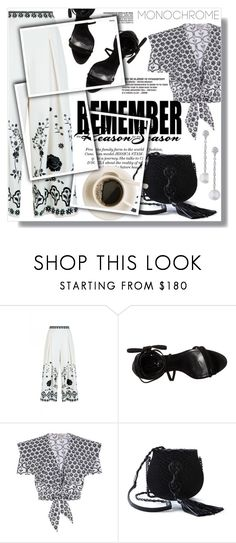 """A la ""Monochrome"""" by sans-moderation ❤ liked on Polyvore featuring Temperley London, Schutz, Yves Saint Laurent, Doris Panos, monochrome, white and black"