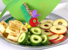 Very Hungry Caterpillar Treats (make a caterpillar with grapes and a tomato for it's head)