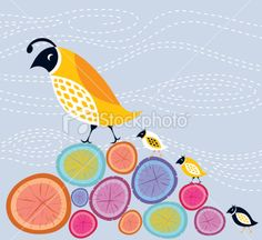 Mother Quail and Chicks Royalty Free Stock Vector Art Illustration