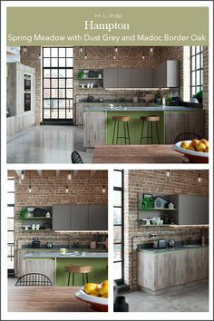 If you want an industrial and rustic feel in the kitchen, why not look at a green painted colour as an accent with a dust grey and textured wood finish.  Masterclass Kitchens distribute kitchens across to independent retailers across England, Wales and Scotland