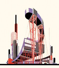 Iakov Chernikhov architectural drawing, use of abstract shape that could translate to design. Architectural Fantasies - 1925-1933