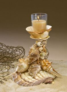 Seashell art, bird cottages and other crafts. Designed and created by Deb Smith and handmade in Annapolis, MD. Seashell Candles, Seashell Art, Seashell Crafts, Seashell Projects, Driftwood Projects, Driftwood Art, Shell Flowers, Shell Decorations, Shell Ornaments