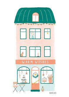 Holiday card house with bakery – warm wishes, new year card home illustration, cute folded holiday greetings card, pastel christmas cards Christmas illustration of a cosy bakery by Kuukeluus. Available as Christmas card, art print and DIY paper house. Art And Illustration, Illustration Inspiration, Building Illustration, Christmas Illustration, Cozy Christmas, Christmas Cards, Christmas Greetings, Holiday Wishes, Weeks Until Christmas