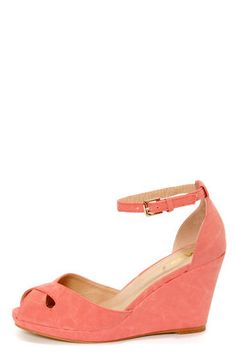 Check it out from Lulus.com! It's a new dawn for adorable sandals, so embrace the beautiful Mixx Shuz Donna Coral Peep Toe Wedge Sandals! Smooth vegan nubuck forms a sweet split upper with a crisscrossing peep toe vamp that creates teardrop cutouts along the sides. Cupped heel anchors a thin, wraparound ankle strap that fastens with a silver buckle. 1/2