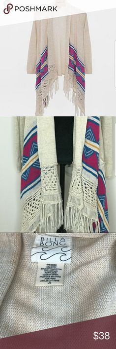 Billabong Long Aztec Cardigan Minimal wear Billiabong Long Fringe Aztec Design Cardigan size large. Billabong Sweaters