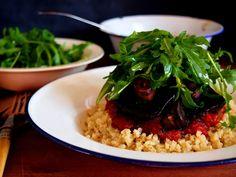 petite kitchen: lemon cauliflower rice topped with charred portobello mushrooms