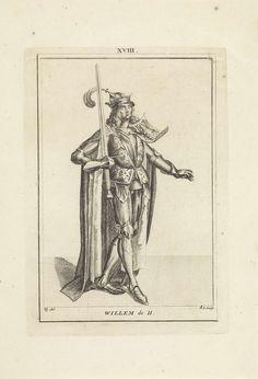 Hendrik Spilman | Portret van Willem II, graaf van Holland en Zeeland, Hendrik Spilman, Anonymous, 1745 | Portret van Willem II, graaf van Holland en Zeeland, staande naar rechts in een harnas en een mantel. Op zijn schouder het wapen van van Holland en Zeeland en in zijn hand een zwaard. Midden boven: XVIII.