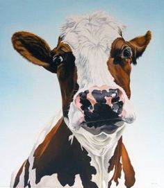 "Saatchi Art Artist Clara Bastian; Painting, ""Cow "" #art"