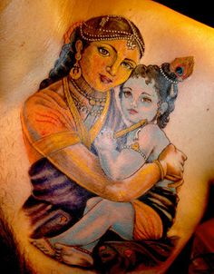Baby Krishna and Devaki tattooed onto Krishna Venkatesh.
