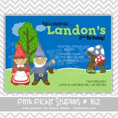 Gnomes Personalized Party Invitation-personalized invitation, photo card, photo invitation, digital, party invitation, birthday, shower, announcement, printable, print, diy,garden