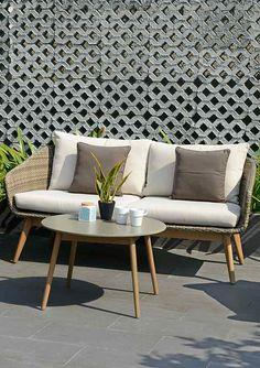 Moderne loungemöbel indoor  Graues Gartensofa auf moderner Terrasse / Gartenlounge von OUTLIV ...