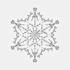 Crochet snowflake chart pattern by yunnara – Snowflakes World Crochet Snowflake Pattern, Crochet Stars, Crochet Snowflakes, Easy Crochet Patterns, Thread Crochet, Crochet Stitches, Knitting Patterns, Crochet Diagram, Crochet Motif