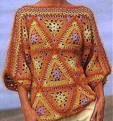 New Crochet Granny Square Poncho Pattern Color Combos Ideas Crochet Bolero, Crochet Tunic, Crochet Jacket, Crochet Diagram, Crochet Clothes, Crochet Sweaters, Crochet Tops, Free Crochet, Moda Crochet