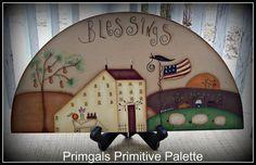 Door Crown Topper Primitive Blessings Saltbox Americana por Primgal