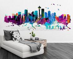 Seattle Skyline Watercolor Stickers - Moon Wall Stickers
