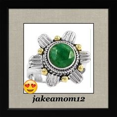 Host Picktwo Tone Emerald Ring