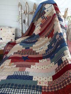 https://howdear.wordpress.com/2013/10/10/free-patriotic-quilt-pattern/ Made from scraps