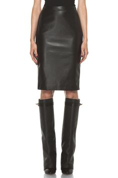 Givenchy Leather Front Pencil Skirt in Black, reminder. pull all the leather pieces. Givenchy Boots, Skirts With Boots, Layering Outfits, Sexy Skirt, Autumn Fashion, Dark Fashion, Me Too Shoes, Pencil, Clothes For Women