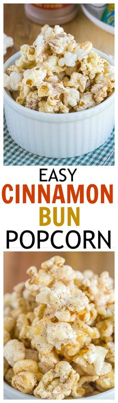 Easy Cinnamon Bun Popcorn - Just three minutes to crispy, sweet and salty popcorn which tastes and smells like fresh cinnamon buns, but with a healthy twist! {bonus high protein option which adds 20 grams + per serve! Dessert Dips, Dessert Parfait, Vegan Desserts, Delicious Desserts, Yummy Food, Snack Recipes, Dessert Recipes, Cooking Recipes, Fudge