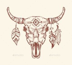 Aztec Tribal Buffalo Skull Vector T-Shirt Print