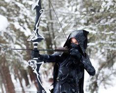 Beebichu's tutorial for her rendition of the Nightingale armor, sword, and bow from Skyrim.  http://beebichu.blogspot.ca/2013/01/how-to-make-skyrim-armor-nightingale.html