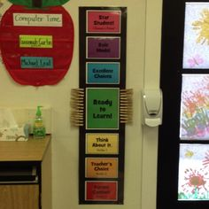 Behavior chart. Students all start out at ready to learn every morning. They LOVE it! kindergarten