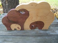 Elephant Animal puzzle Maple wood scroll saw cut by BasketsByDebi
