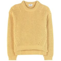 Acne Studios Hira Wool-Blend Sweater ($525) ❤ liked on Polyvore featuring tops, sweaters, jumpers, yellow, yellow sweater, acne studios, yellow jumper, beige sweater and acne studios sweater