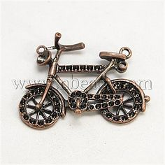 Alloy Pendants, Bicycle, Red Copper, 40x31x4mm, Hole: 1mm