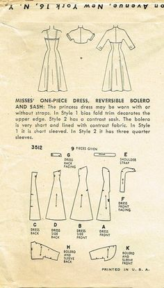 Simplicity 3512 Sewing Pattern (1950s boned dress)